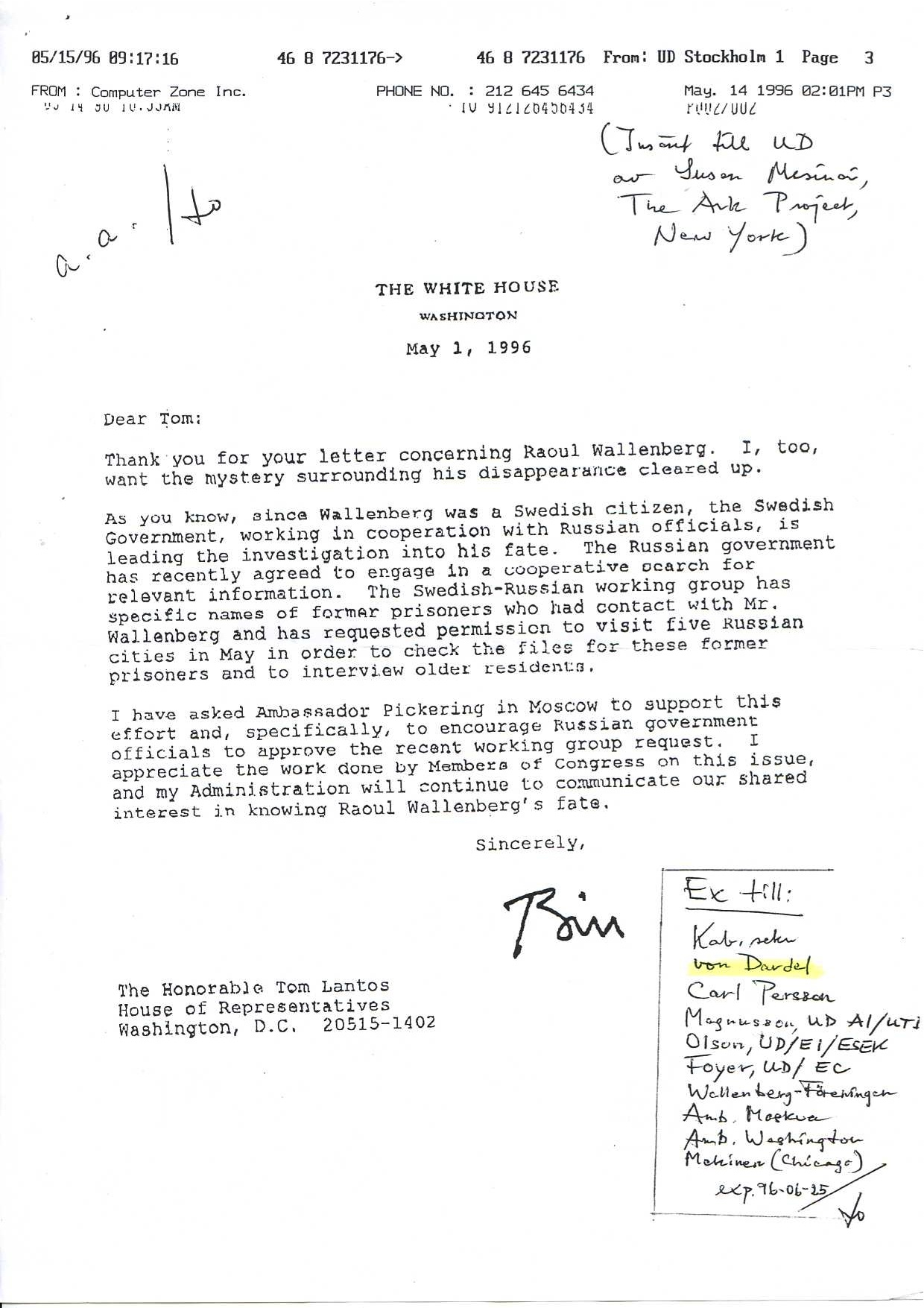 Letter To Tom Lantos From Bill Clinton Searching For
