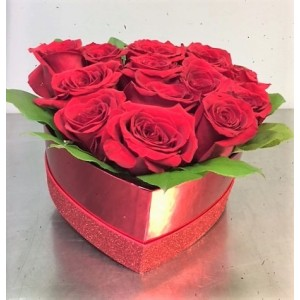 12 Red Roses in a Heart Shape Box