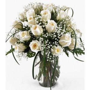 24 White Roses Vase