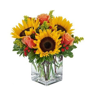 3 Sunflower and 6 Orange Roses in a Vase