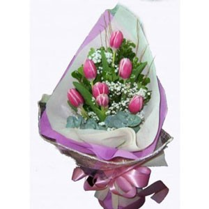 6 pink tulips bouquet
