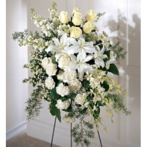 Funeral White Flowers - Casa Blanca, Mums, Roses & Orchids in a Stand