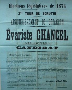 1876-02-25 - Evariste Chancel - Affiche électorale - Collection Charles de Raphélis-Soissan