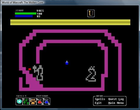 A screenshot of WoW: Molten Core for Atari 2600 (well, really, for Windows)