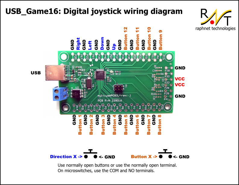 alarm circuit diagram hpm light socket wiring raphnet technologies - usb game16: 4 direction inputs + 12 button pcb