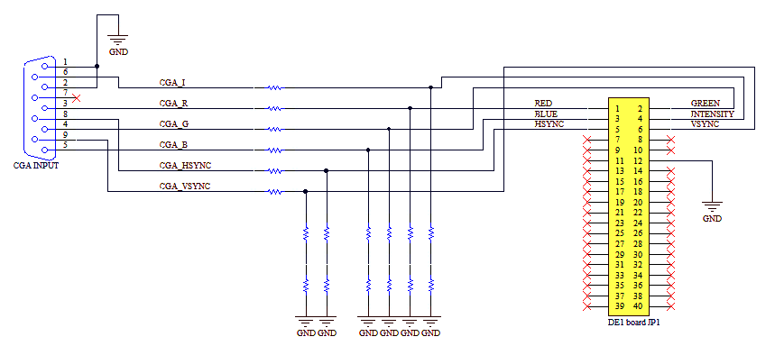 vga wiring diagram colours of a two way and intermediate lighting circuit cga to converter using an fpga all resistors have equal values i used 220w but think this is bit low since it results in input impedence only 660w while according