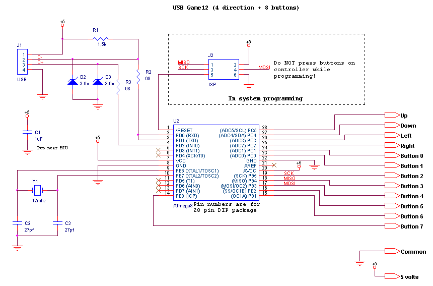 ps2 controller to usb wiring diagram 3 phase compressor circuit for game with 12 inputs 8 buttons 4 here is the main schematic