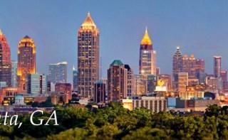 Atlanta Georgia written on picture of the city. Illustrates atlanta georgia drug detox