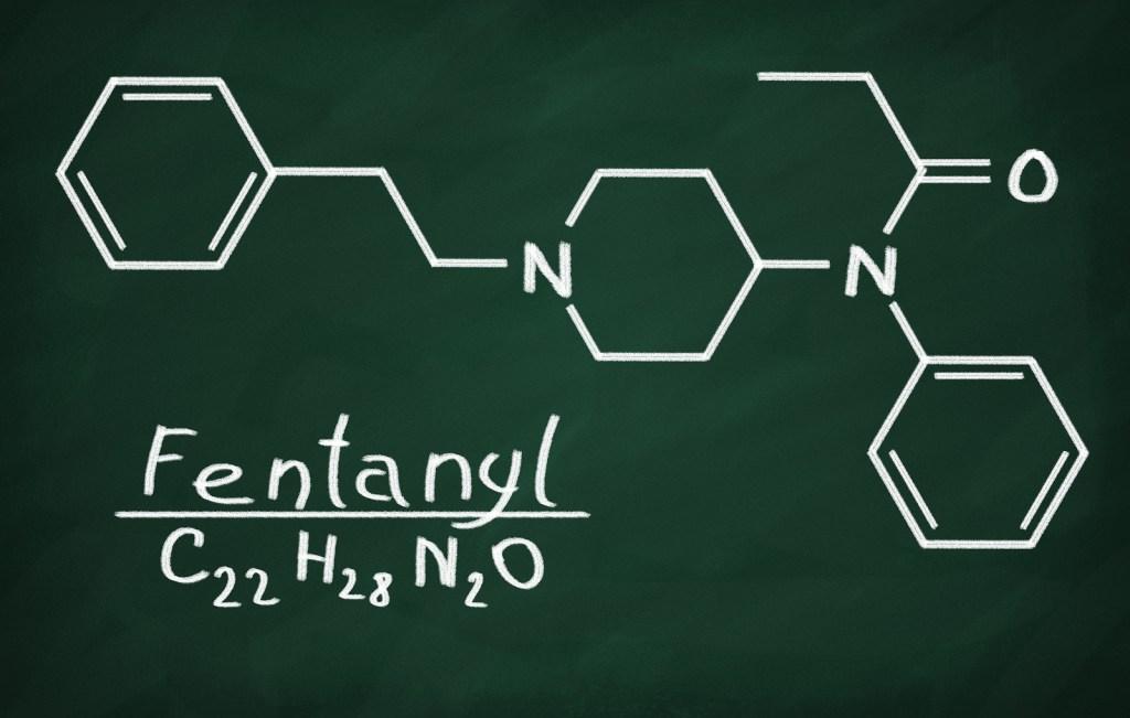 Structural model of Fentanyl on the blackboard.