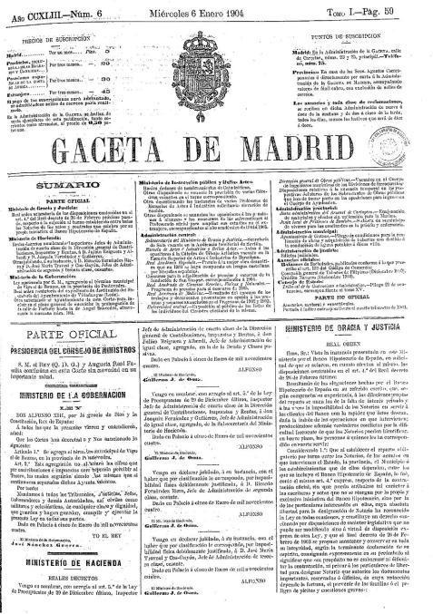 Portada de la Gaceta de Madrid (actual BOE) del miércoles 6 de enero de 1904, en donde se publicó la anexión del Ayuntamiento de Bouzas al de Vigo.