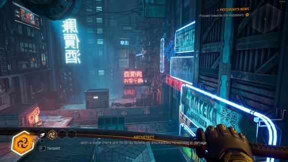 A neon-lit steet from Rapid Reviews UK Ghostrunner Review