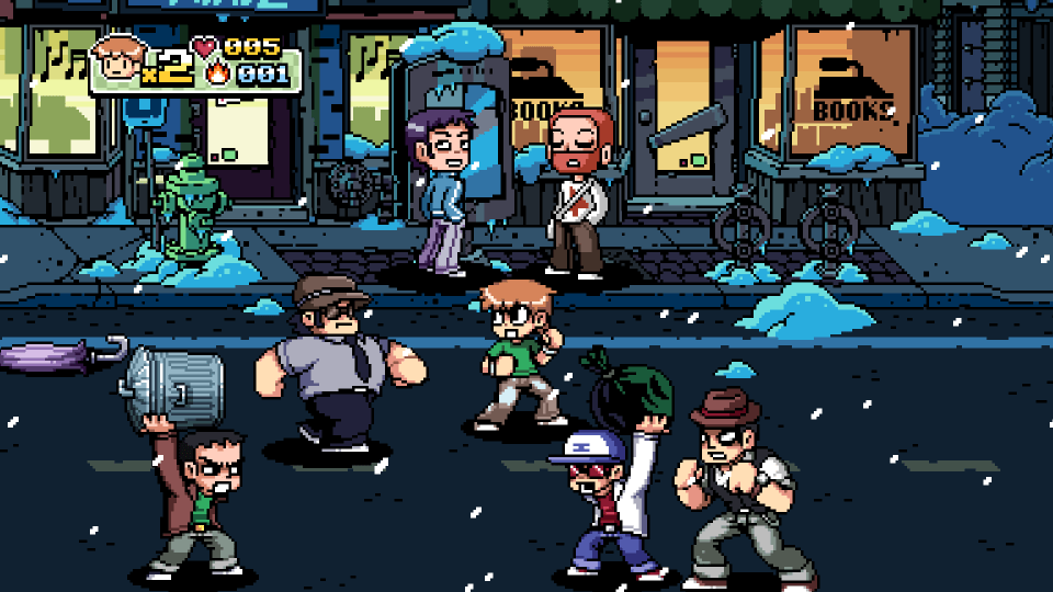 A busy town full of characters fighting and talking