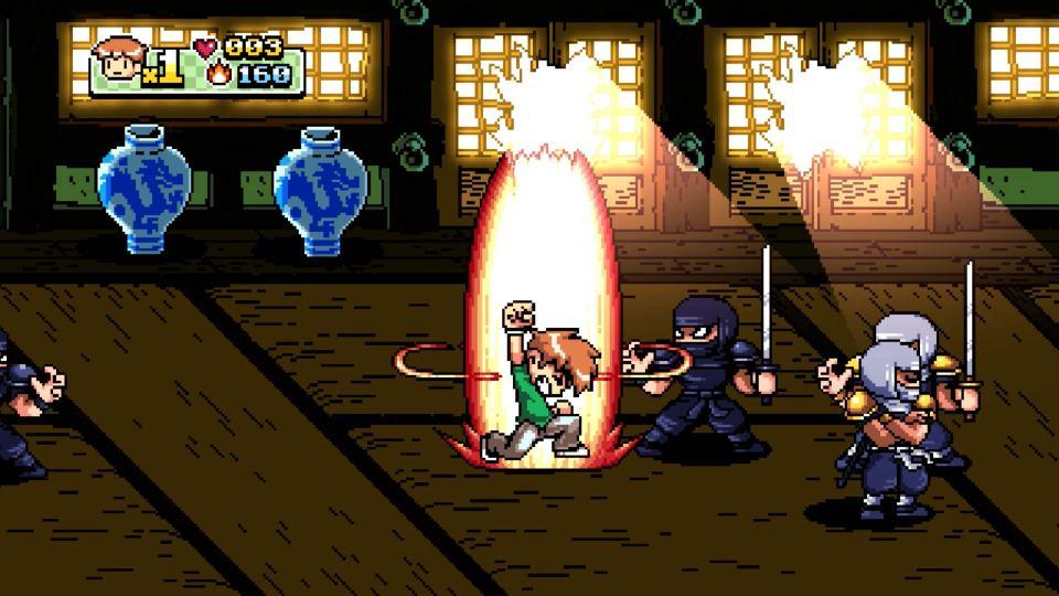 Scott Pilgrim surrounded by ninjas