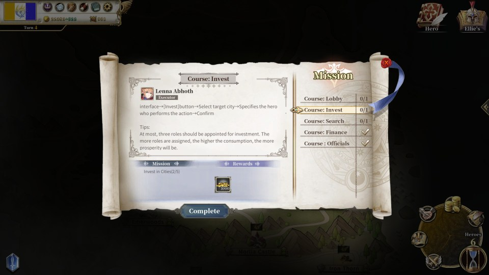 The mission menu in The Heroic Legend of Eagarlnia