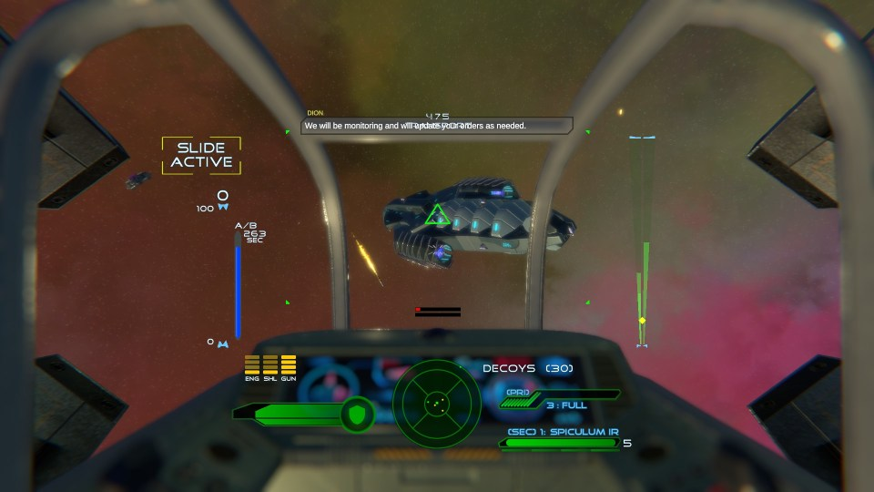 Targeting an enemy ship from your ship's cockpit