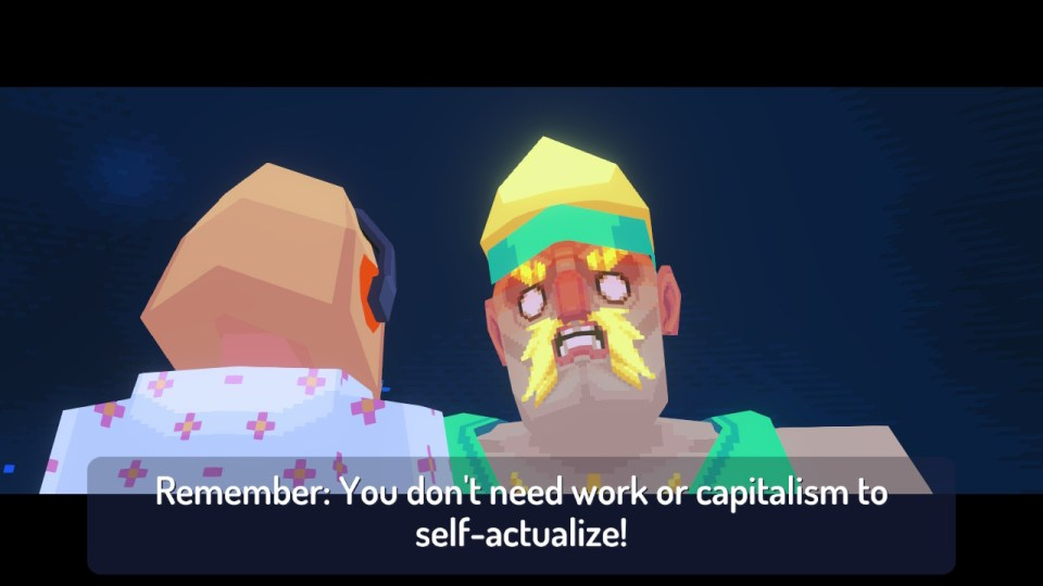 A giant 90s style fitness instructor saying 'remember: you don't need work of capitalism to self-actualize!'