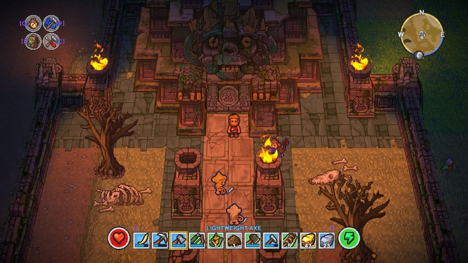 The player is standing in front of an Aztec looking temple, who's door is closed.