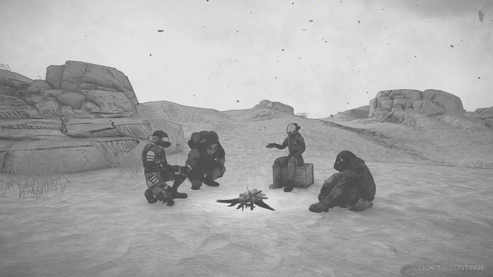 Four survivors sit around a campfire.