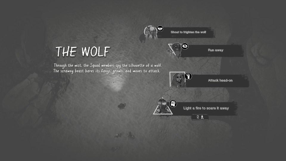 A menu presenting four options for how to deal with a dangerous wolf.