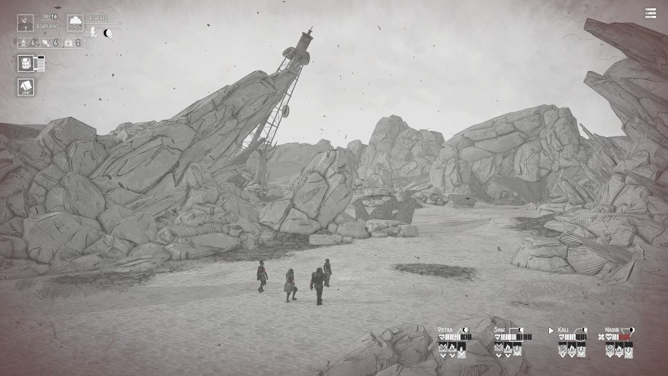 A squad walks through a rocky valley.