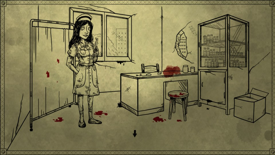 A handrawn scene pictures a nurse in a doctor's office with blood splatters on the page