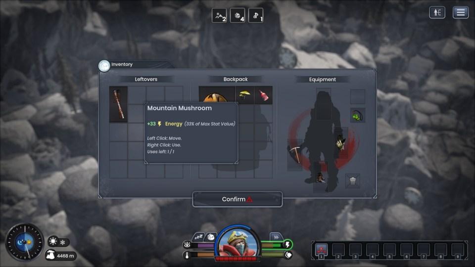 An inventory menu where a description is shown for a Mountain Mushroom item.