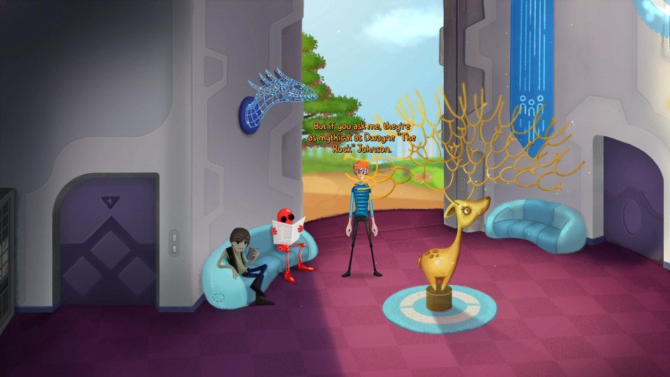 Henry Dijon stands in a room with a gold deer statue in the middle, with a red robot and Han Solo look alike sitting on the sofa next to him
