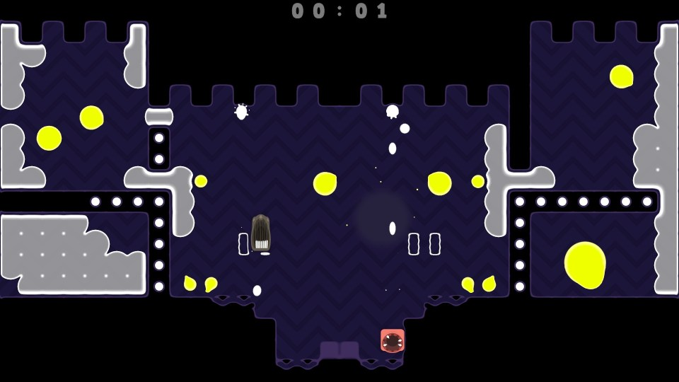 Two spitlings bounce in a dark blue level with yellow enemy blobs.
