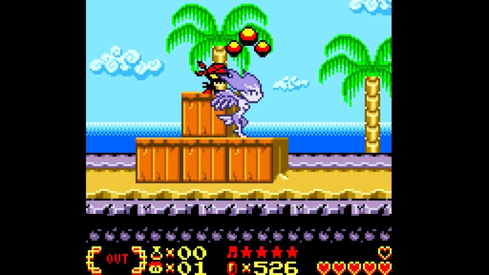 One of Shantae's transformations in a beach themed area