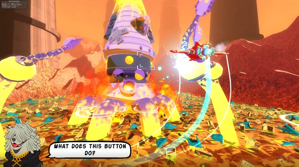 A giant octopus-like machine attacks the Red Paw ship as it attempts to defeat it.  Astrodogs PC Review Rapid Reviews UK