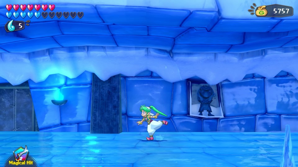 A frozen room with the player ice skating