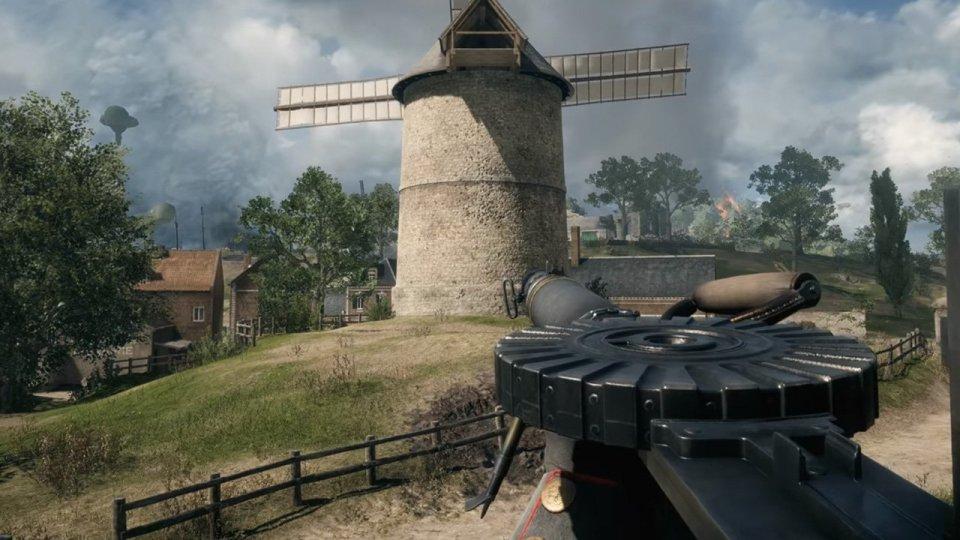 A windmill with an overcast sky