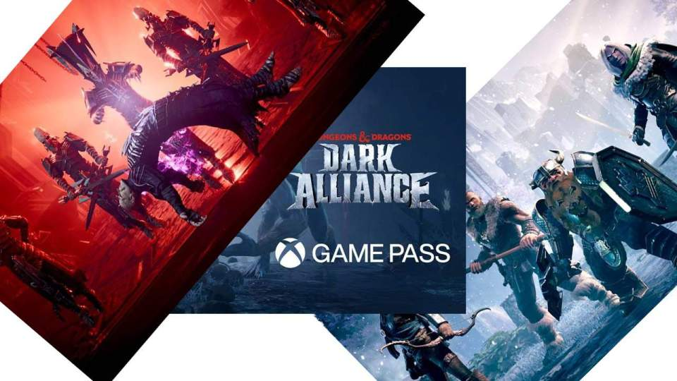 A graphic announcing Dungeons and Dragons Dark Alliance on Xbox Game Pass