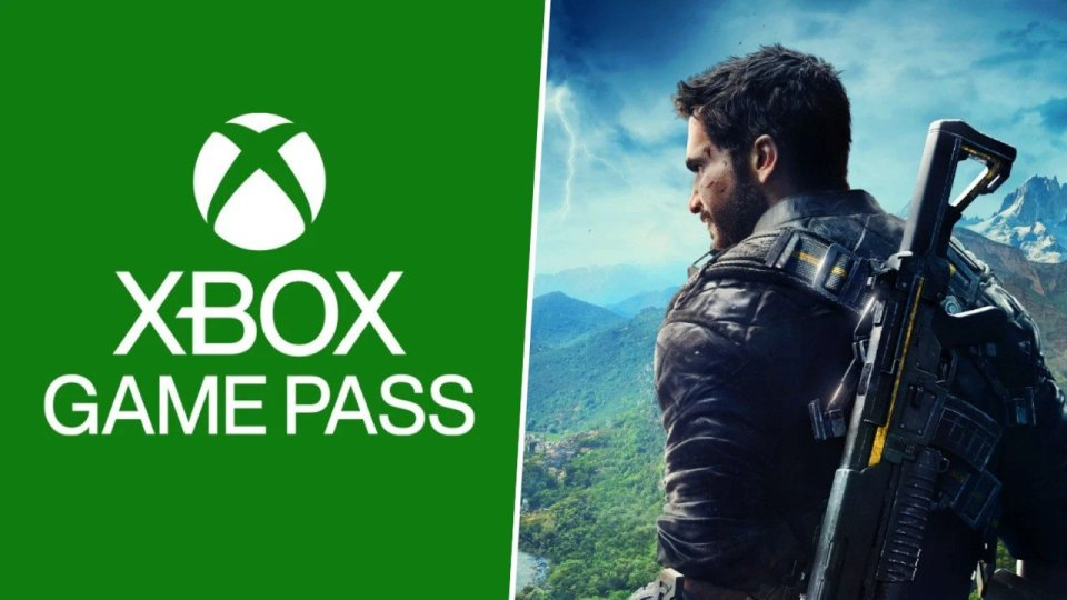 A graphic with the green Xbox Game Pass logo on the left side, and a close up of Rico Rodríguez from Just Cause 4 Reloaded on the right