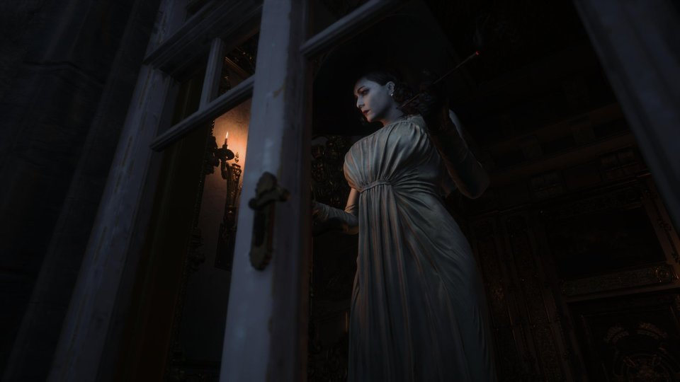 Resident Evil 8 Lady Dimitrescu in the window