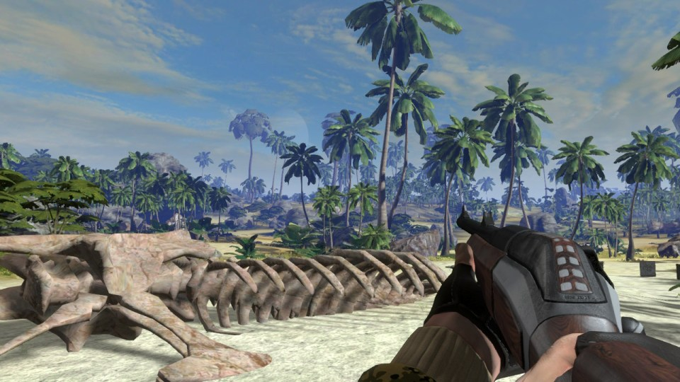 The skeleton of a dinosaur and a gun aiming at the distance in the game Carnivores: Dinosaur Hunt