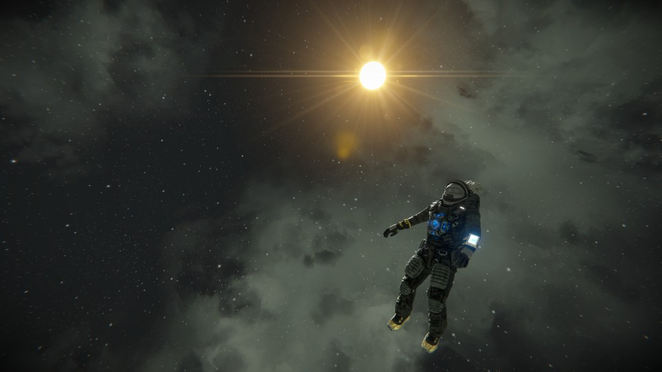 An astronaut floats in the middle of space. The sun shines in the background.