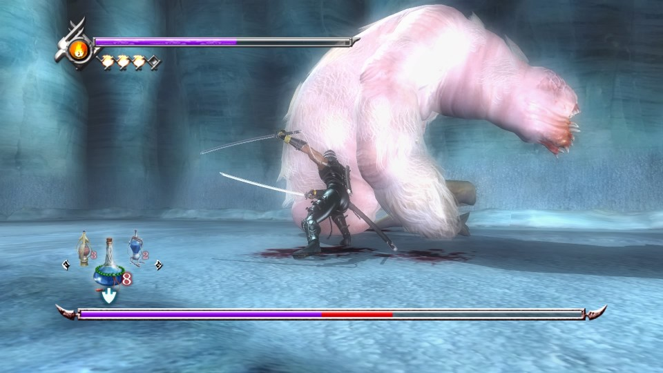 Ryu slashing into a frozen worm during a boss fight.