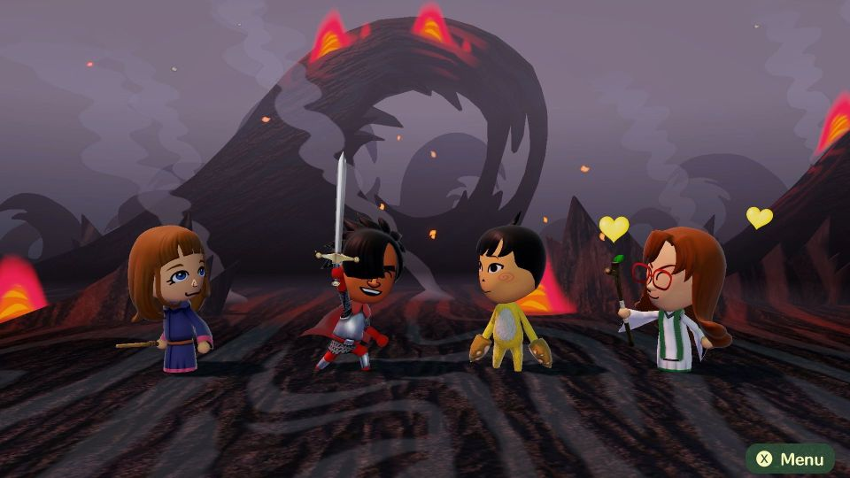 Four different Miis stand in a row, one a red knight raising his sword, in a fiery backdrop.
