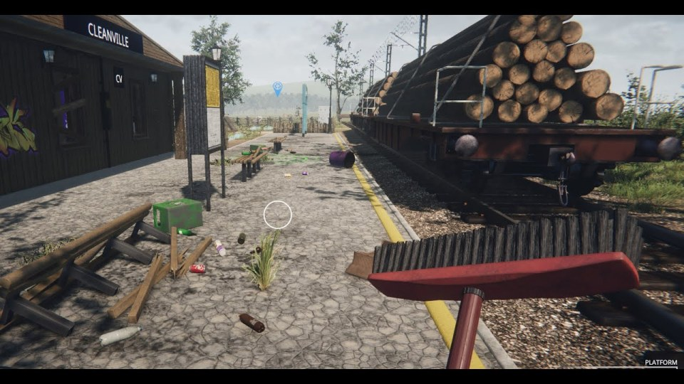 A train platform with weeds growing and general mess in the game Train Station Renovation.