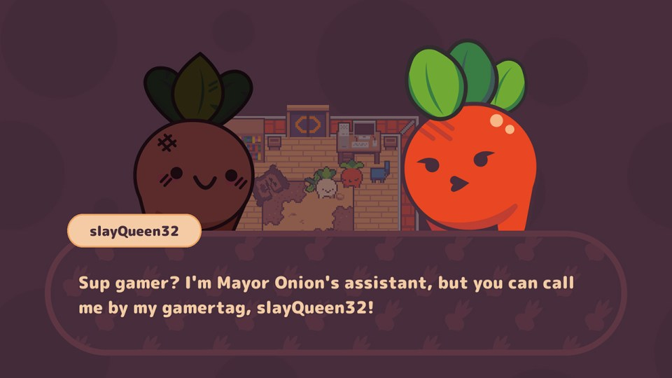 Turnip Boy Commits Tax Evasion example of dialogue.
