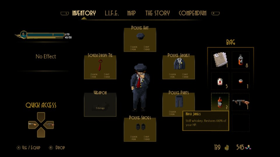 This shows the player's inventory. They have a police uniform that changes some of their stats and the mack janiels is highlighted, showing that it will restore all their health