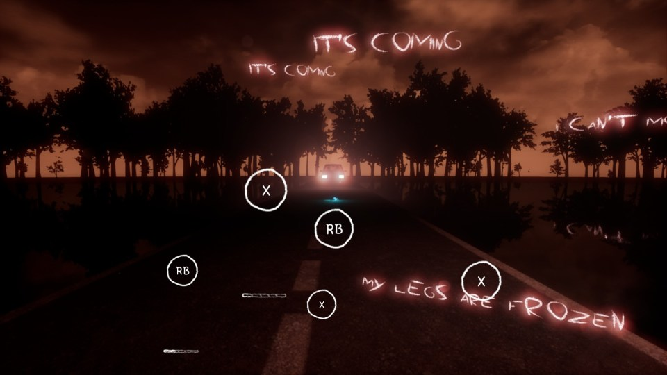 A car can be seen head on with its headlights on, trees line the road the car approaches on, phrases cover the screen