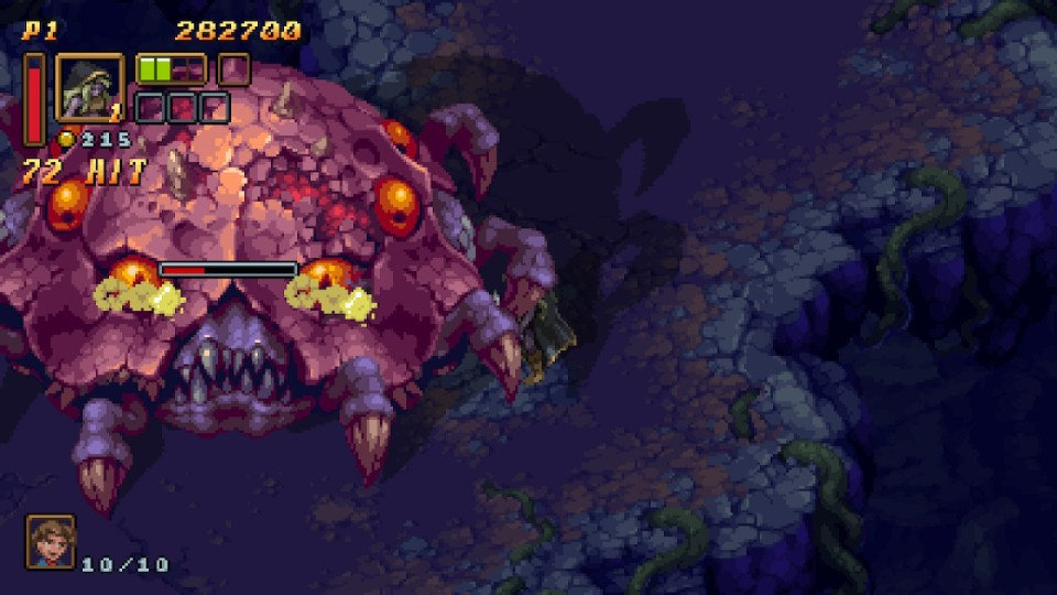 The player is attacking a massive shelled creature