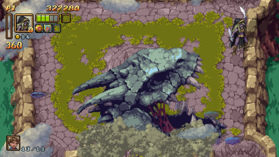Skull of a dragon head while the player is in the top left in their victory stance
