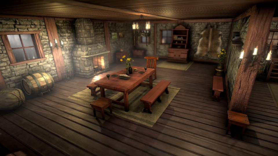 The inside of a medieval home featuring a wooden dining table and benches, and a stone fireplace.