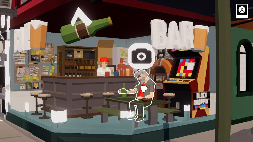 A bar with an old man drinking
