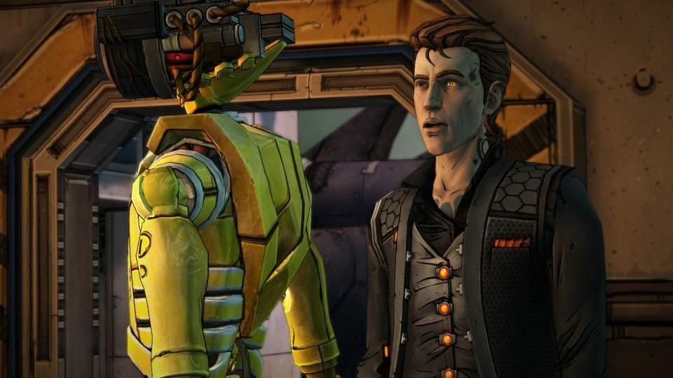 A robotic and human character talking