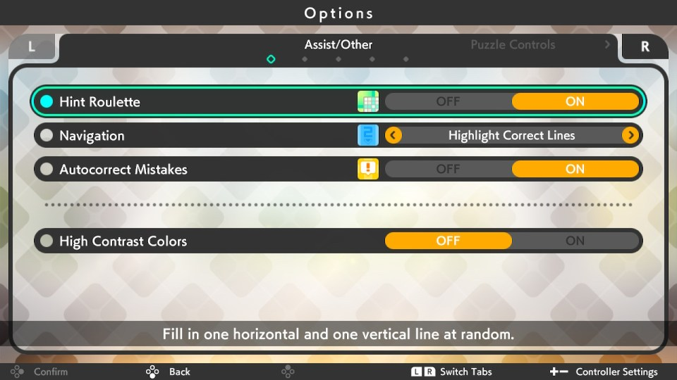 In the options menu of Picross S6. It shows different options for players to use such as navigation, autocorrect mistakes and the hint roulette