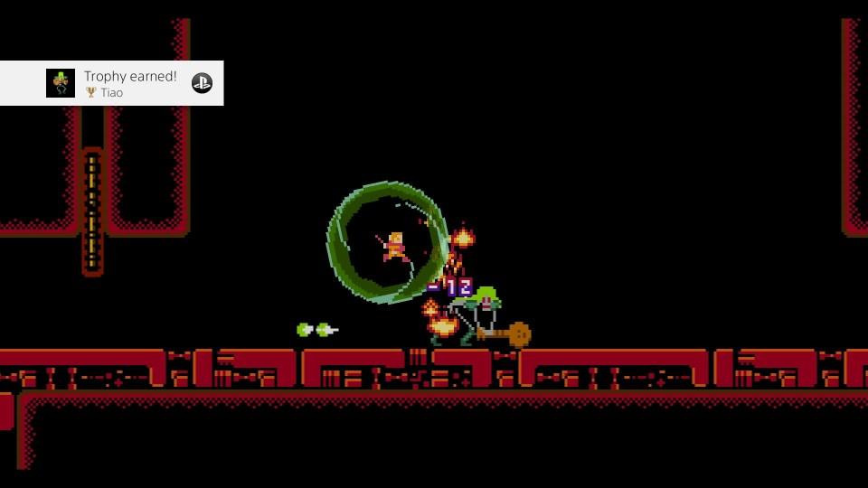 A green shield surrounds the player as he defeats Tiao
